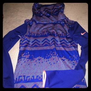 Women's M blue Nike running pullover w/ cowl neck